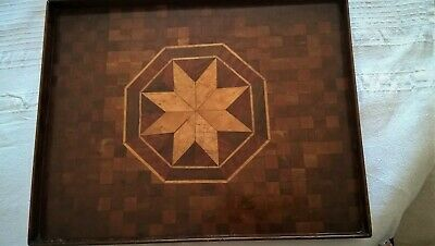 Vintage Handmade Wooden Marquetry Tray