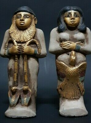ANCIENT EGYPTIAN ANTIQUES Two USHABTI (SHABTI) For AfterLife RARE STONE EGYPT BC