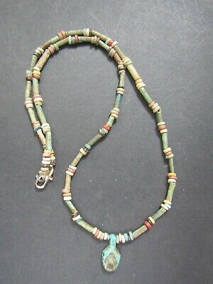 NILE  Ancient Egyptian Leaf Amulet Mummy Bead Necklace ca 600 BC