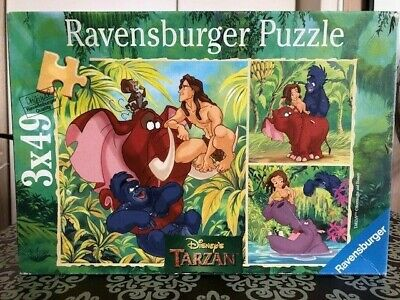 1999  Ravensburger Disney's Tarzan 3 Jigsaw Puzzles in one box - Complete Unused