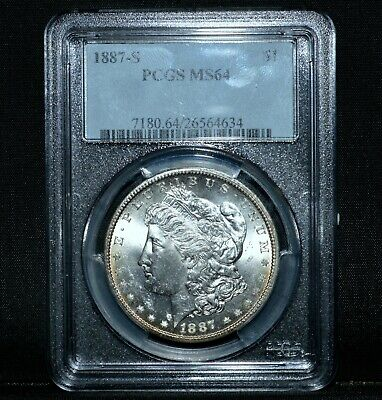 1887-S $1 Morgan Silver Dollar ✪ Pcgs Ms-64 ✪ Choice Uncirculated Unc ◢Trusted◣