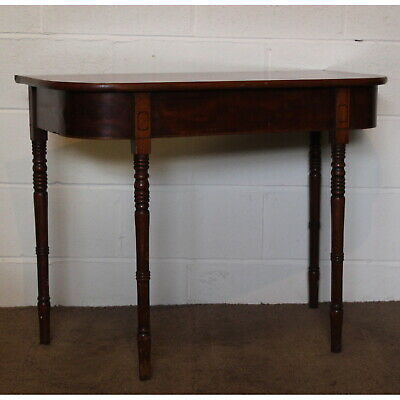An Early Victorian Inlaid Mahogany Side Table, Raised on Turned Supports