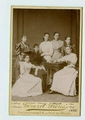 Vintage Cabinet Card 7 Young Belgian Girls Id'd 1892 Fashion Costume