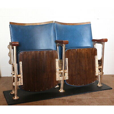 A Pair of Vintage Art Deco C1930s Cinema or Theatre Chairs Seats Blue Leather