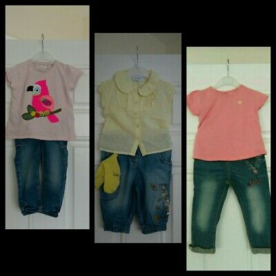 Baby Girls Outfits Bundle Tops And Jeans Next,Nutmeg 12-18 Months