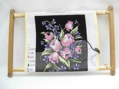 """Tapestry on 18"""" frame  Part sewn  Penelope printed canvas  Needlepoint"""