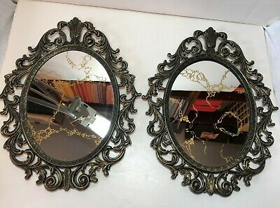 Pair OVAL MIRROR Hollywood Regency VTG Gold Ornate Metal Japan Frame OVAL MIRROR