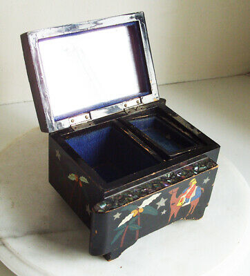 Oriental Japanese Black Lacquered Vintage Musical Jewellery Box Mother of Pearl