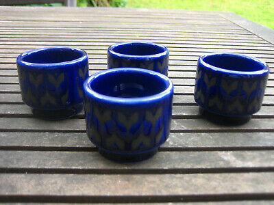 4 Vintage John Clappison Hornsea Blue / Black Heirloom Egg Cups