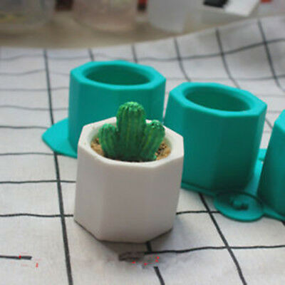 Silicone Cactus Flower Pot Mold Ceramic Clay Craft Casting Concrete Cup Mold  FR