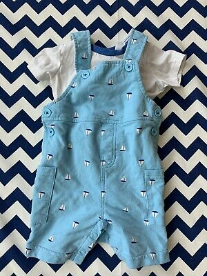 First Impressions Baby Boy 12 Month 2-piece Outfit White Sail Boat Theme