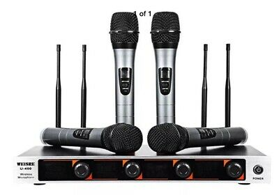 UHF Professional Wireless 4 Channel Microphone System Led Display