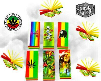 Bob Marley Rasta Theme Filter Tips Roach Booklets Asst Coloured & Other $ Papers
