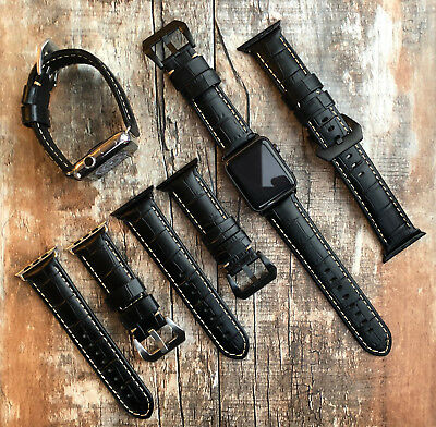 For Apple Watch Series 5 4 3 42/44mm Black Croc Style Leather Strap Wrist Band