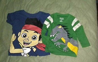 Lot Of 2 Boys Shirts 12 Months Jake Pirates Dinosaur Disney Garanimals