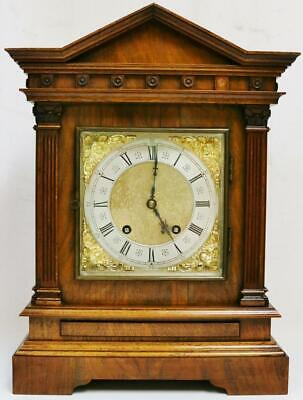 Antique Lenzkirch Carved Walnut 8 Day 1/4 Strike Ting Tang Musical Bracket Clock