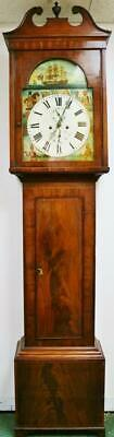 Antique 19thC Scottish Flame Mahogany 8 Day Striking Longcase Grandfather Clock