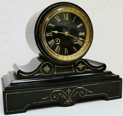 Antique French Marble Slate Bell Striking Small Proportion Drumhead Mantel Clock
