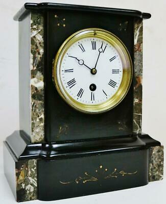 Antique 19thC French 8 Day Engraved Slate & Grey Marble Timepiece Mantel Clock