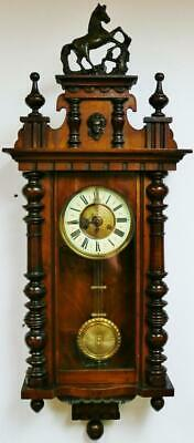 Beautiful Antique German 8 Day Gong Striking Carved Mahogany Vienna Wall Clock