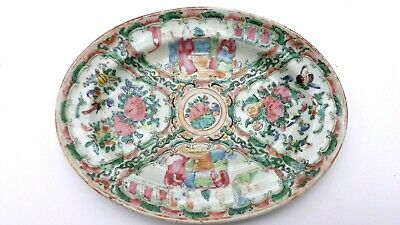 """Antique Chinese Porcelain 8"""" Oval Plate Canton Famille Rose Medallion"""