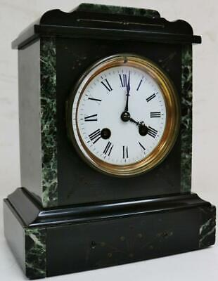 Fine Antique French 19thC 8 Day Slate & Green Marble Bell Striking Mantel Clock