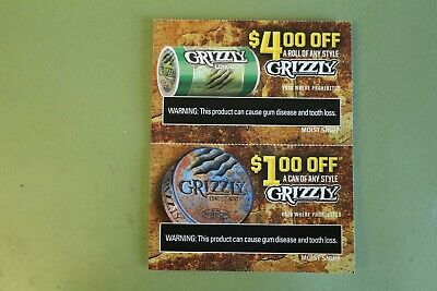 Two (2) Grizzly Snuff Coupons - $1.00 Off A Can & $4.00 Off A Roll -Exp 10/31/19
