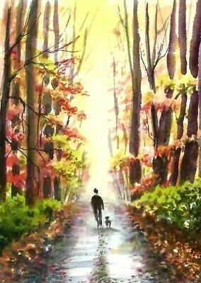ACEO Autum road painting original Fall trees landscape watercolour art card