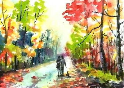 ACEO Autumn road walk painting original Fall landscape watercolour art card