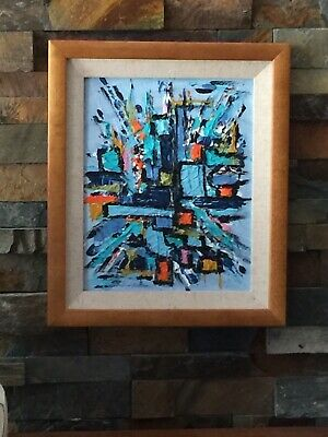 Mid Century Modern Abstract Acrylic Painting Orange Blue