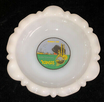 "Fire King *MILK GLASS* 5 1/4"" KANSAS CENTENNIAL ASHTRAY*"