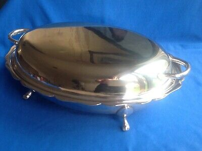 Vintage Or Antique Viners Sheffield Silver Plated Serving Dish With Legs And Lid