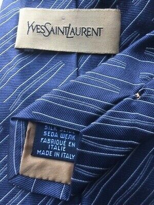 YSL YVES SAINT LAURENT  Tie 100% Silk Blue Colour - FREE POST