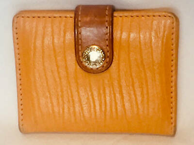 vtg DOONEY BOURKE CREDIT CARD WALLET Bus Yellow/gold embossed leather W010