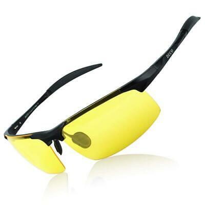 DUCO Mens Anti Glare Night-vision Headlight Polarized Driving Glasses UV Protect