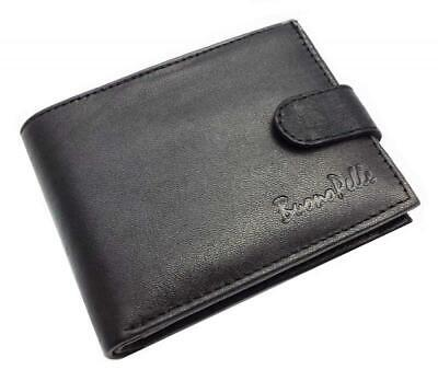 Designer BUONO PELLE Real Leather Mens Wallet Credit Carder Holder Bifold Purse