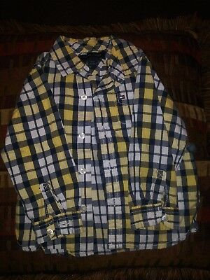 Tommy Hilfiger Toddler Boys Button Down Shirt Plaid MultiLong Sleeve Sz 18 Month