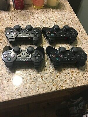 Official OEM Sony PlayStation 3 PS3 Controller lot of 4 - Black