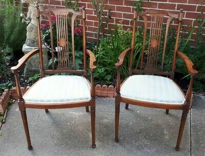 Pair Antique Edwardian Mahogany Inlaid Open Arm Chairs DELIVERY POSSIBLE