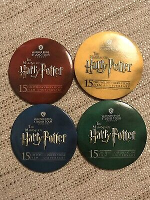 The Making Of Harry Potter Studio Tour Philosopher's Stone Set Of 4 Badges