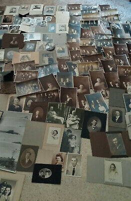 Over 100 Antique Photos Black And White Sepia Tone 20's-Mid Century Several Card