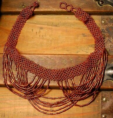 Hand Crafted India TRIPLE CHOKER NECKLACE Draped Bronzed Glass Beads Fair Trade