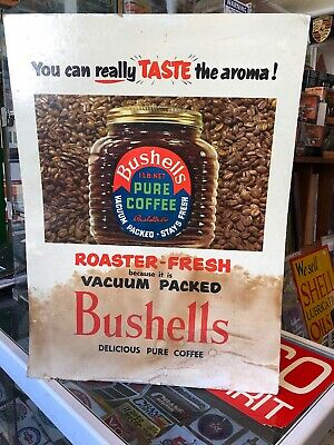 Bushells Pure Coffee Vintage Cardboard Sign Rare