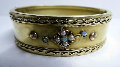Antique Victorian 14 Ct Gold Hinged Bracelet Opal & Seed Pearl Set Wide Band