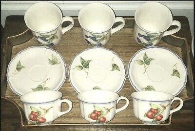 """COTTAGE"" by ""VILLEROY & BOCH"" AUTHENTIC TEACUPS, COFFEE MUGS & SAUCERS (3 Each)"