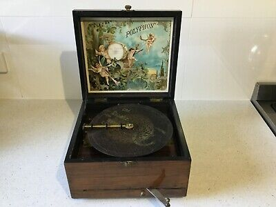 Rare Polyphon  Music Box Player Plus 1 Disc Beautiful Timber With Inlay Working
