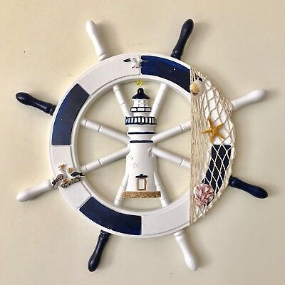 1 Nautical Wooden Boat Ship Steering Wheel Net Wall Hanging Home Decor 40cmX40cm