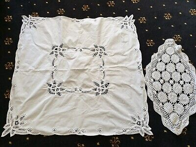 2 Vintage Lace Doilies Tablecloth White Crochet For Crafts Sewing Great Cond