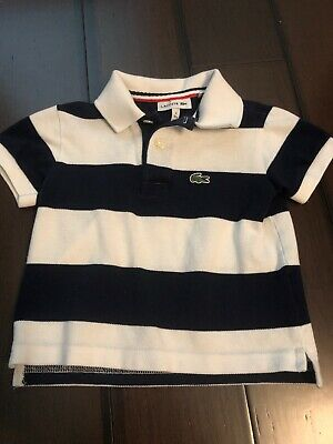 LACOSTE Toddler Boy Striped Polo Shirt Navy New