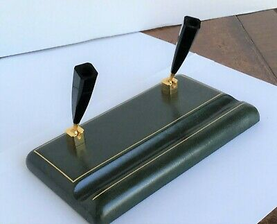 Italian Leather Base Double Pen Holder for desk top-  Quality